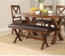 rustic dining table farm house kitchen farmhouse trestle 2 bench 3 piece BKALPGI