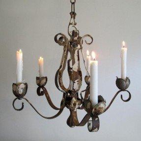 shabby iron candle chandelier XYVIILW