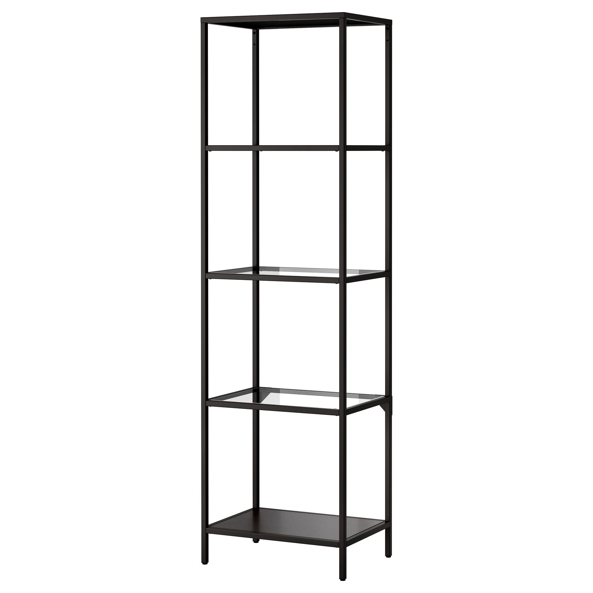 shelving units vittsjö shelf unit, black-brown, glass width: 20 1/8  BVJAXKA