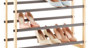 shoe shelves natural 3-tier grippy shoe rack HUJSMBJ