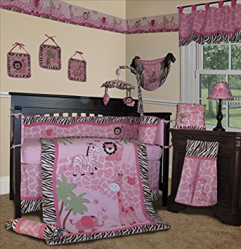 sisi baby girl bedding - pink safari 13 pcs crib nursery bedding set LNEJKJX