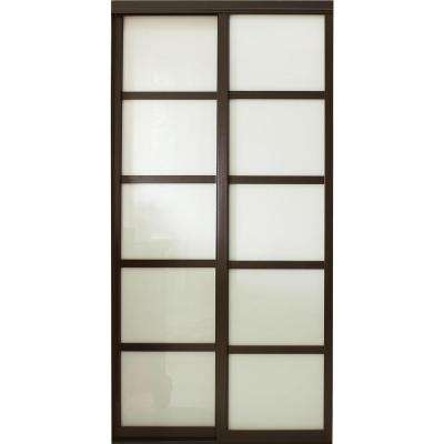 sliding closet doors tranquility glass panels back painted interior sliding door with espresso  wood frame LXSQIYY