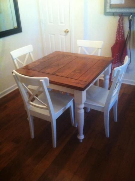 small kitchen tables square turned leg farmhouse kitchen table | do it yourself home projects FVUVLVV