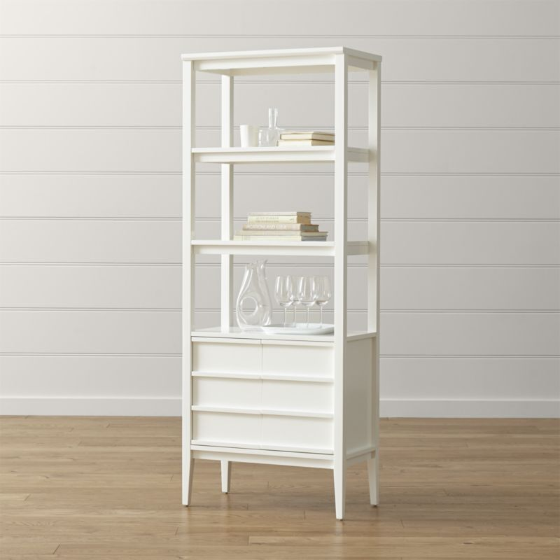 spotlight white bookcase | crate and barrel CARRSVL