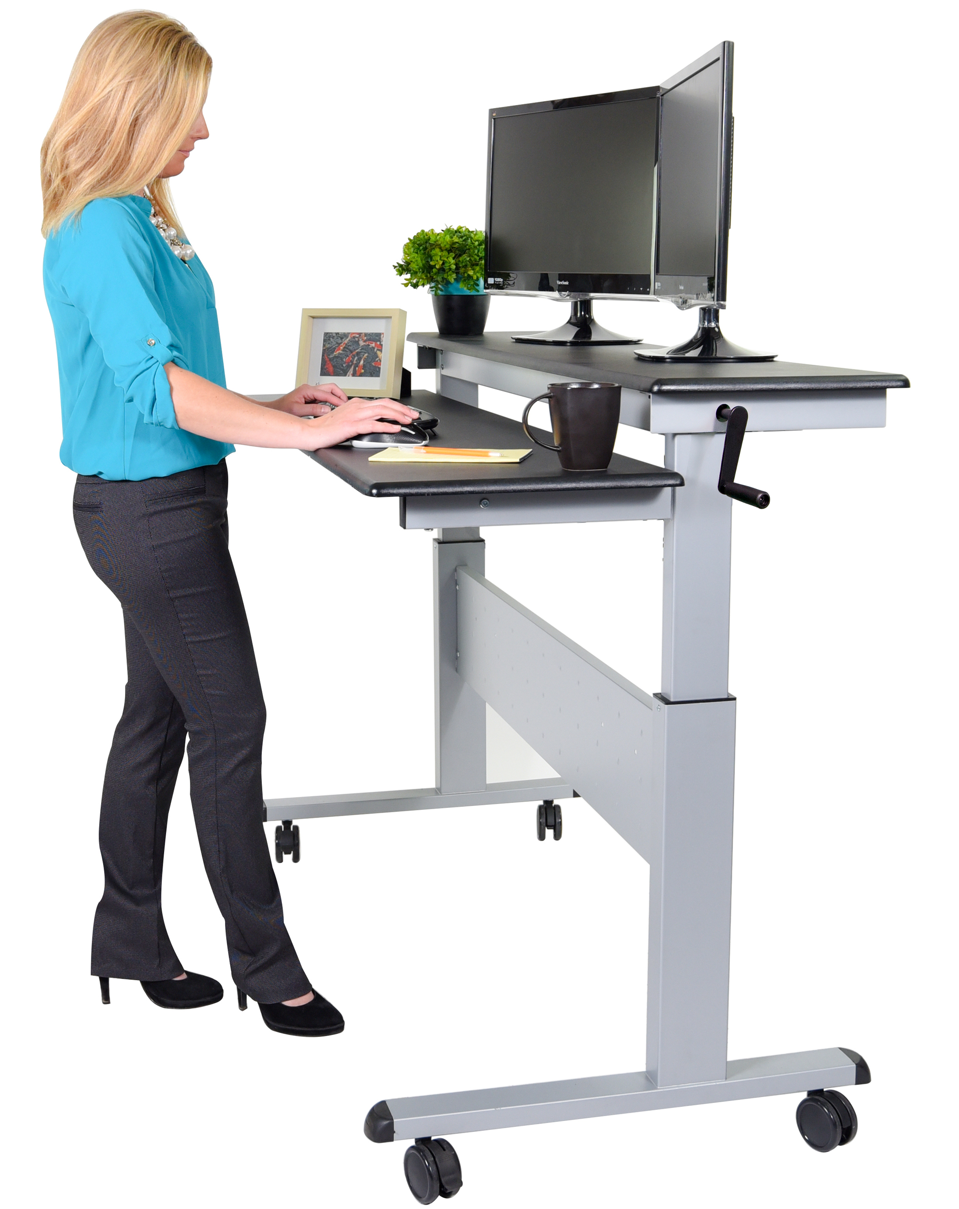 standing desk crank adjustable sit to stand two-tier desk with steel frame | stand up JHHTWYQ