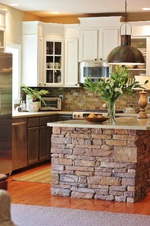 stone kitchen island - 40 rustic home decor ideas you can build yourself MAJRBWM