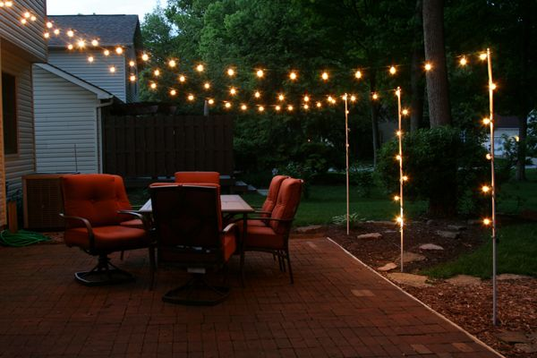 support poles for patio lights made from rebar and electrical conduit | TXBHLRO