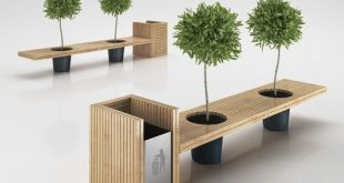 urban furniture wooden eco design bench with integrated trash bin   3d model. urban QWTOLFL