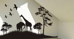 wall art decals safari animals wall decal africa giraffe and elephant vinyl wall art decal FJDDGBN