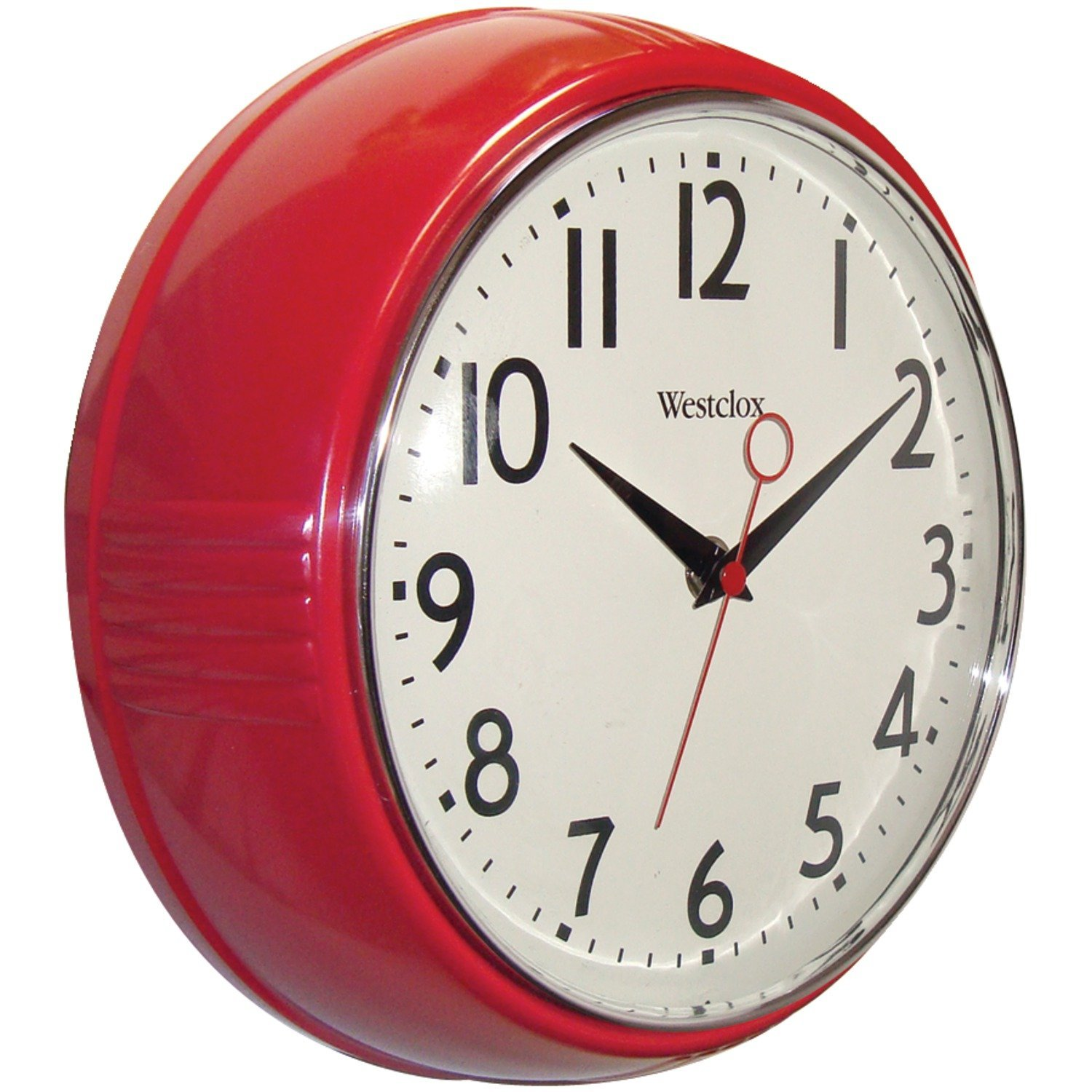 wall clocks amazon.com: westclox 32042r retro 1950 kitchen wall clock, 9.5-inch, red:  kitchen u0026 MNQTGYF