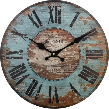 wall clocks featuring a heavily distressed blue and brown finish, this delightful wall  clock YOCWEPO