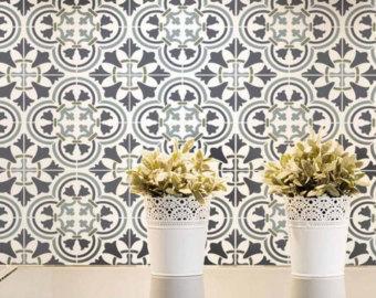 wall stencils augusta tile stencil - size: small - stencil designs for home décor - BGRHJZG