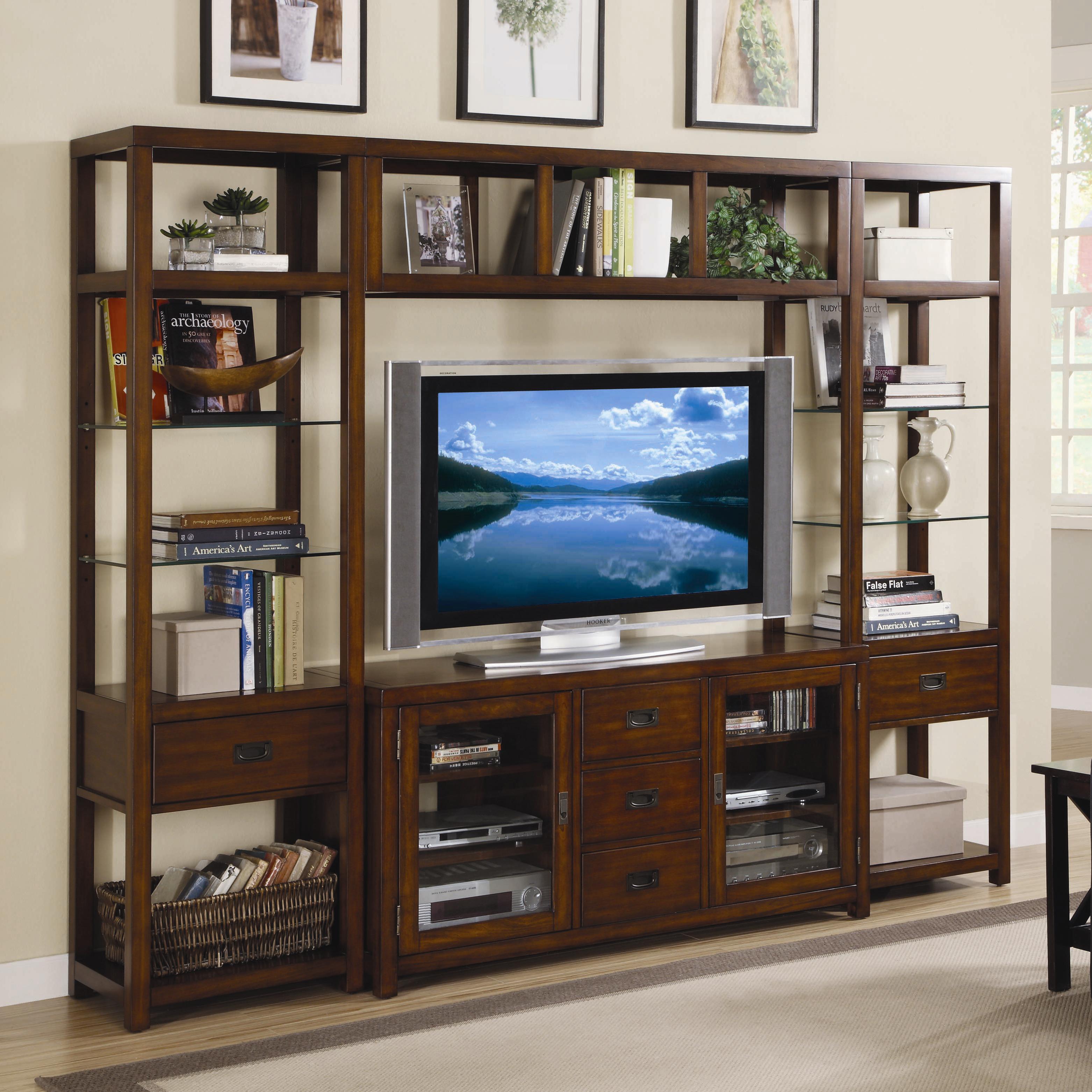 wall units hooker furniture danforth wall unit - item number: 388-70-641+2x450 DRAIRGF