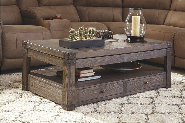weathered wood lift top coffee table UQRTYLJ