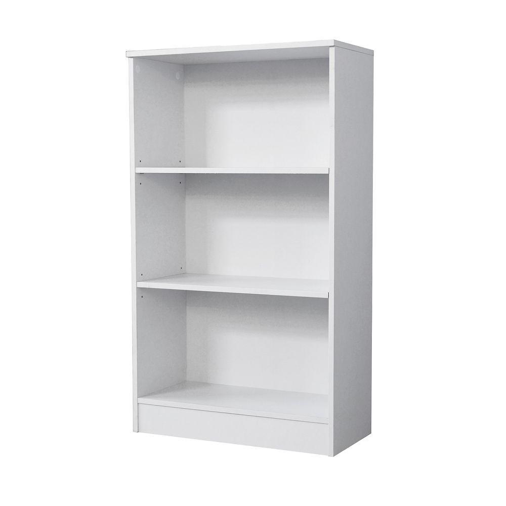 white bookcase 3-shelf standard bookcase in white GNIYQLZ