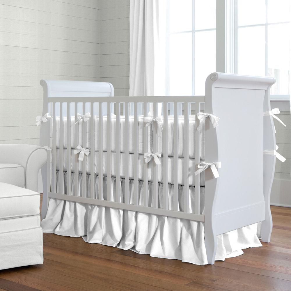 white crib solid white baby crib bedding collection PFWEMZY