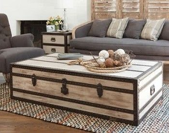 white steamer trunk coffee table. great example of lightening the room  against VRLNAJW