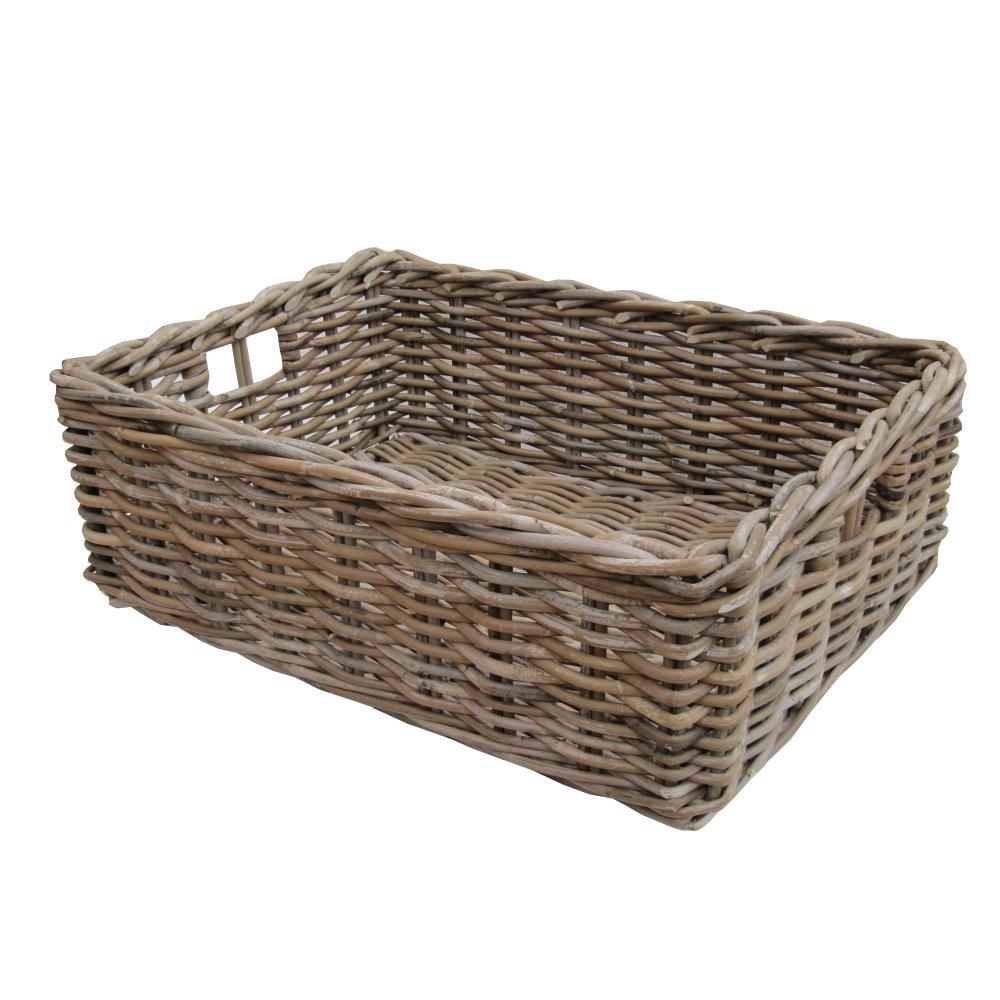wicker baskets rectangular grey u0026 buff rattan wicker storage baskets - empty hamper baskets QJVDUGC