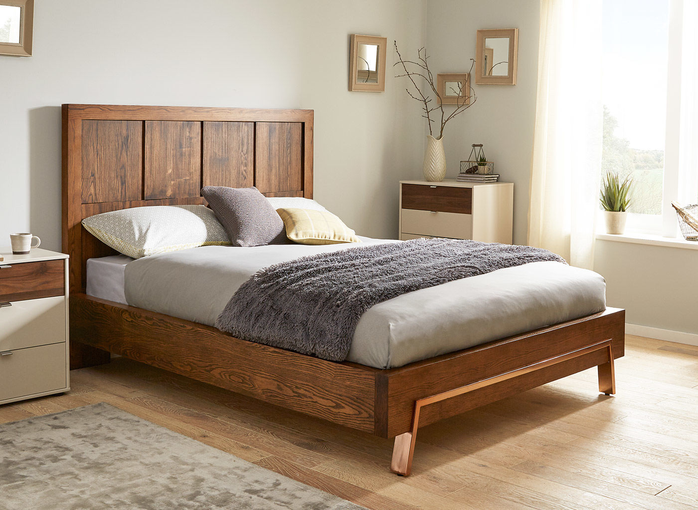 wooden beds grant dark wood and copper bed frame TVPWIXW