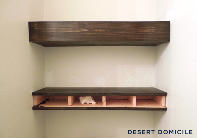 wooden shelves diy $15 chunky wooden floating shelves | desert domicile VQOHZBA