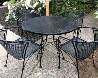 wrought iron patio furniture sold mid century salterini russell woodard wrought iron patio set - vintage JEZWNAW