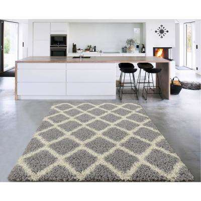 8x10 area rugs cozy shag collection gray and cream moroccan trellis design 8 ft. x 10 EXWTIMX