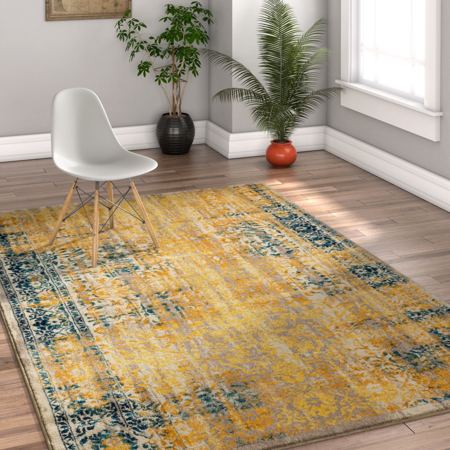 alhambra modern vintage floral yellow rug BWNOUFH