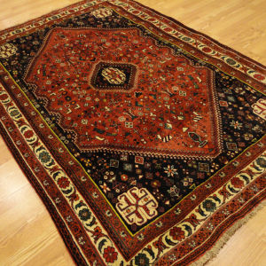 authentic persian qashqai abadeh shiraz rustic red gold navy handmade rug  5u0027x8u0027 FOJVAXX