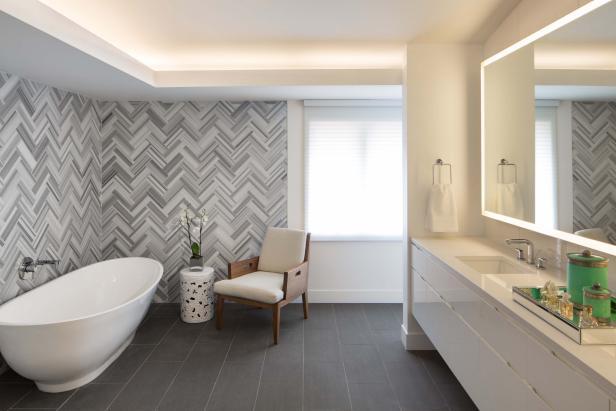 Bathroom floors herringbone tile wall uplifts modern master bathroom AWFKZVI