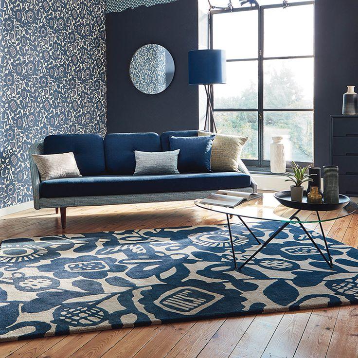 Best blue rug scion kukkia rugs 24508 in ink YGBQRIE