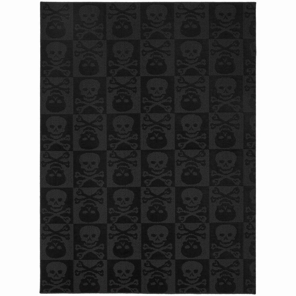 black area rugs garland rug skulls black 5 ft. x 7 ft. area rug ZXZRGGV