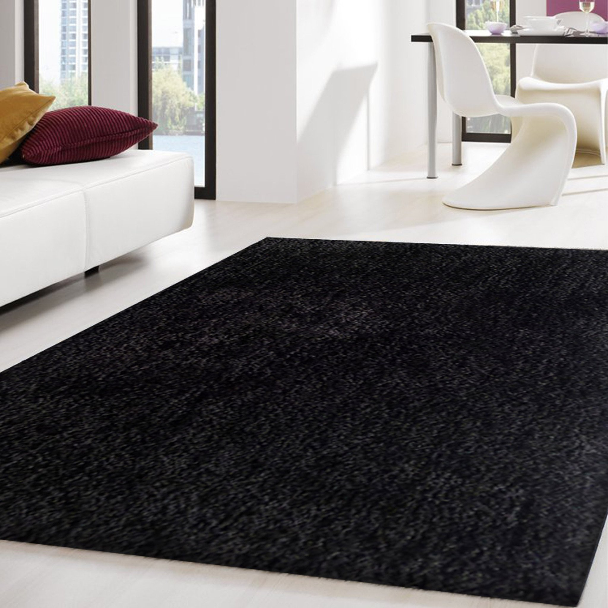 black rugs 2-piece set | solid black thick plush shag area rug with rug pad RULFINH