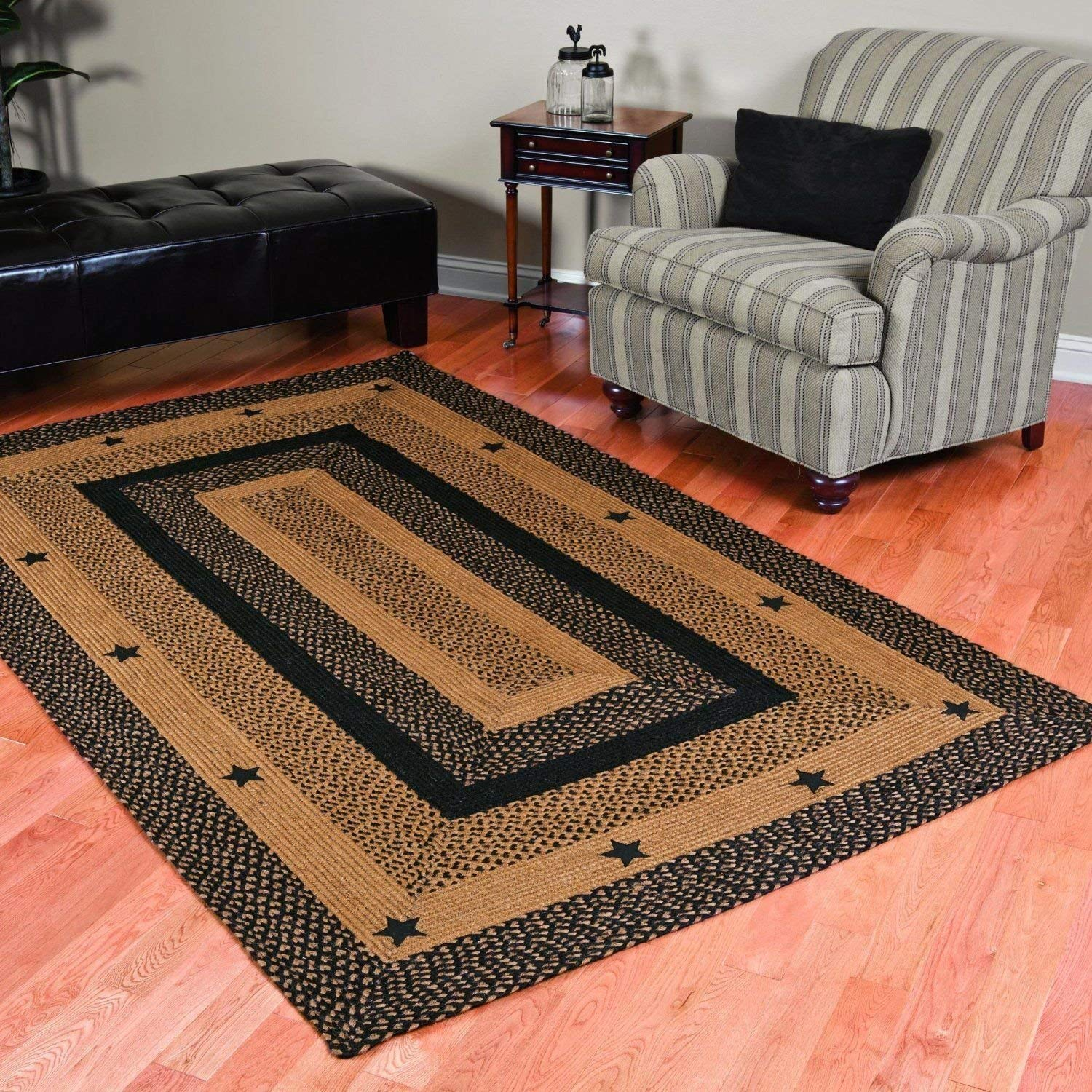 braided area rugs amazon.com: ihf home decor primitive star black design braided area rug 4 x BFXXJYH