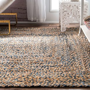 braided area rugs destrie h-braided blue area rug UHZJWIT