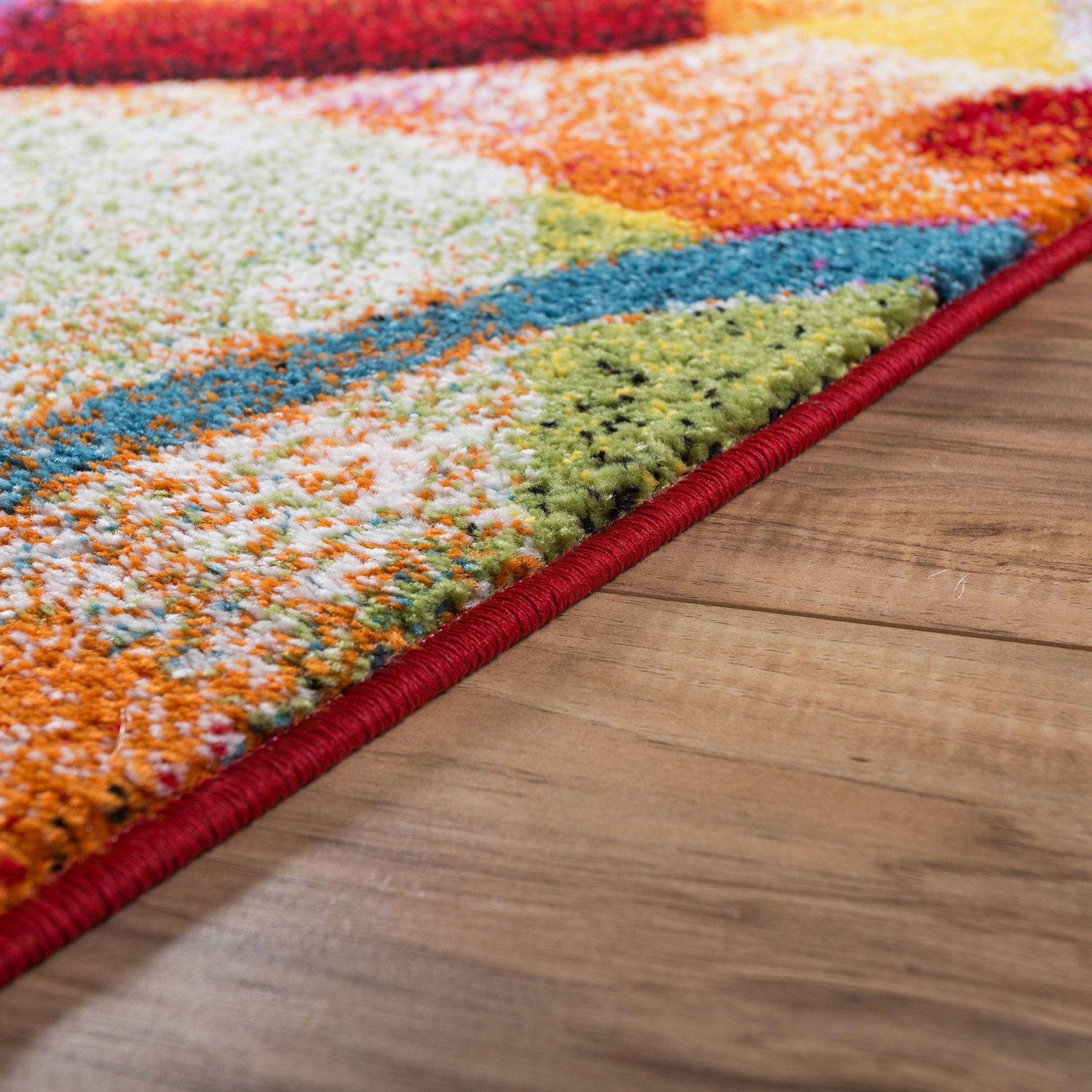 brown area rug with circles bubble bright multi circles yellow blue red abstract geometric lines area  rug VRHDAKN
