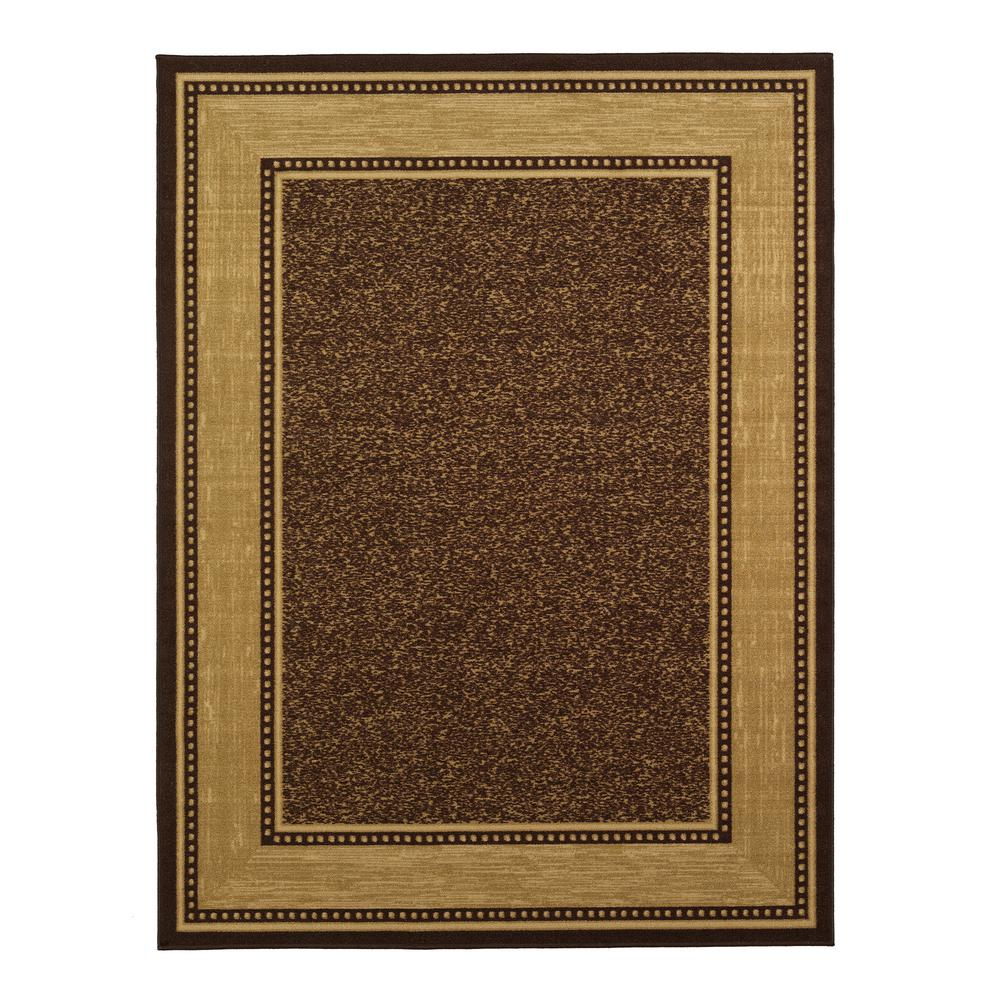 brown rug ottomanson contemporary bordered design brown 8 ft. x 10 ft. non-skid area LGPKSBE