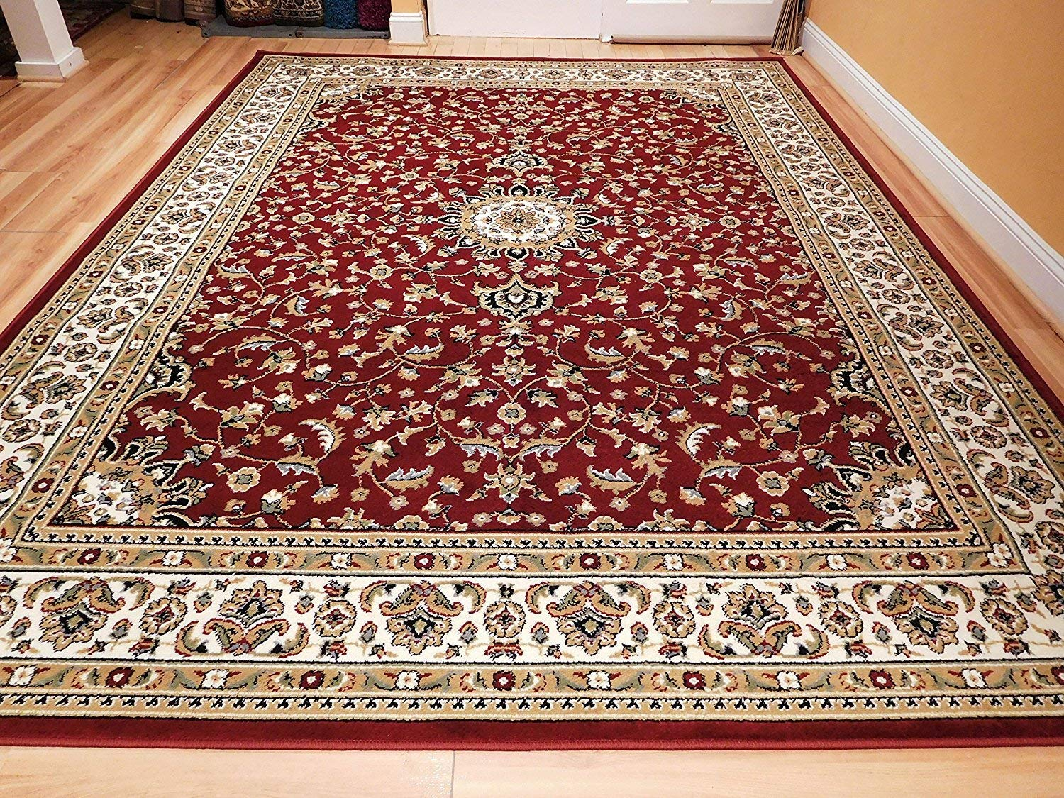 Carpet rug amazon.com: large 5x8 red cream beige black isfahan area rug oriental carpet EYDUKXK