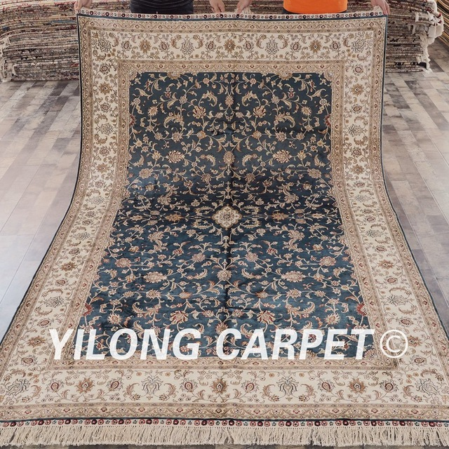 chinese rugs yilong 6u0027x9u0027 floral traditional hand knotted blue carpet handmade chinese  rugs for MTNUIRS
