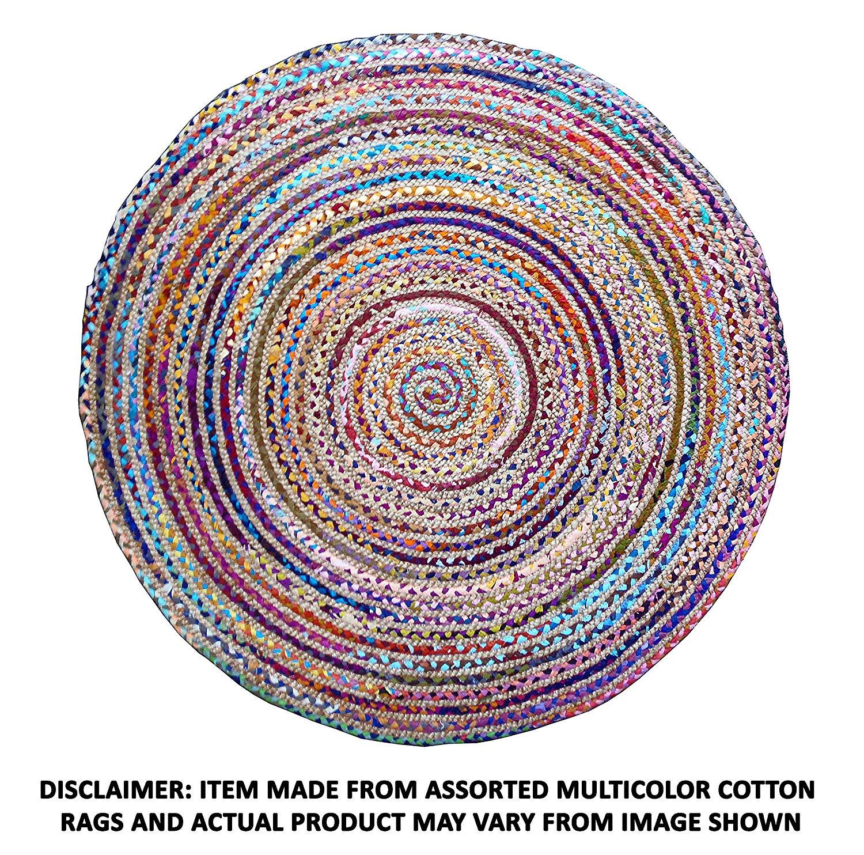 Circle rugs amazon.com: cotton craft jute u0026 cotton multi chindi braid rug, hand woven WCFVQRE