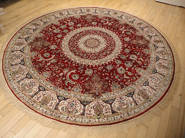 Circle rugs amazon.com: stunning silk persian area rugs traditional design red tabriz  8x8 round QGPVJPB