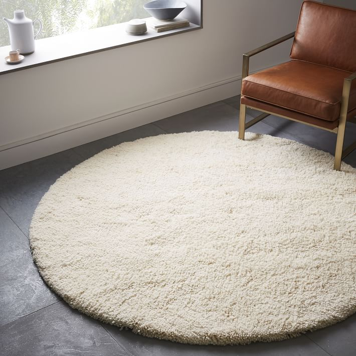 Circle rugs darby wool shag rug - round | west elm EGWHSIN