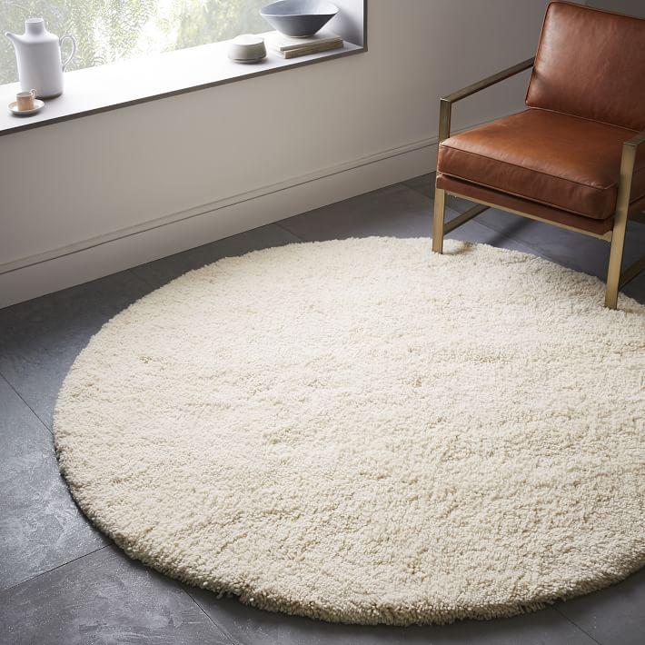 Circle rugs darby wool shag rug - round | west elm EGWHSIN