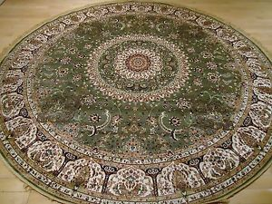 Circle rugs image is loading persian-silk-rugs-8-round-rug-green-silk- ZKOZQAZ