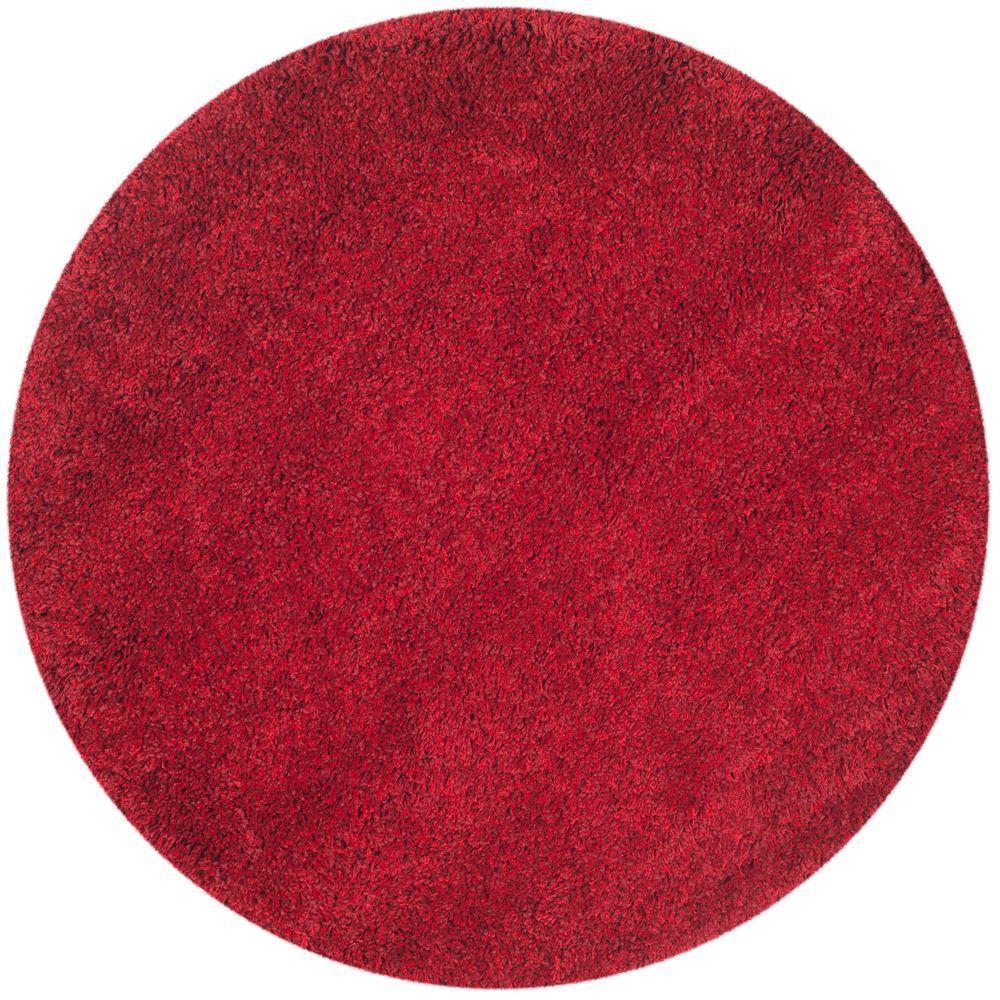 Circle rugs safavieh california shag red 4 ft. x 4 ft. round area rug THGRKJU