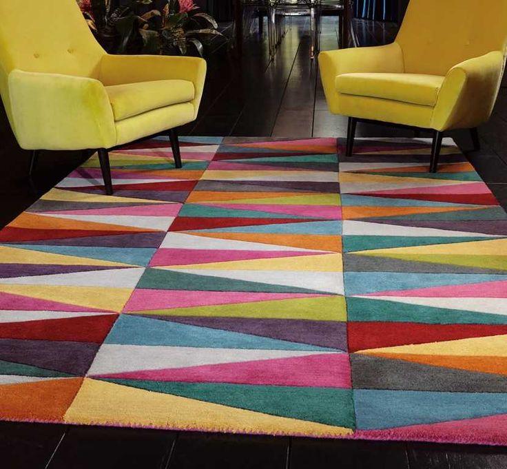 colourful rugs funk triangles multi rugs (70 x 200cm) QUIEMJX