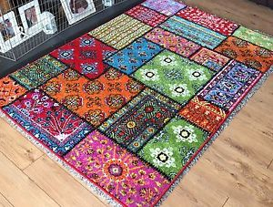 colourful rugs image is loading patchwork-rugs-very-bright-vibrant-colourful-mats-long- JSMEFEH
