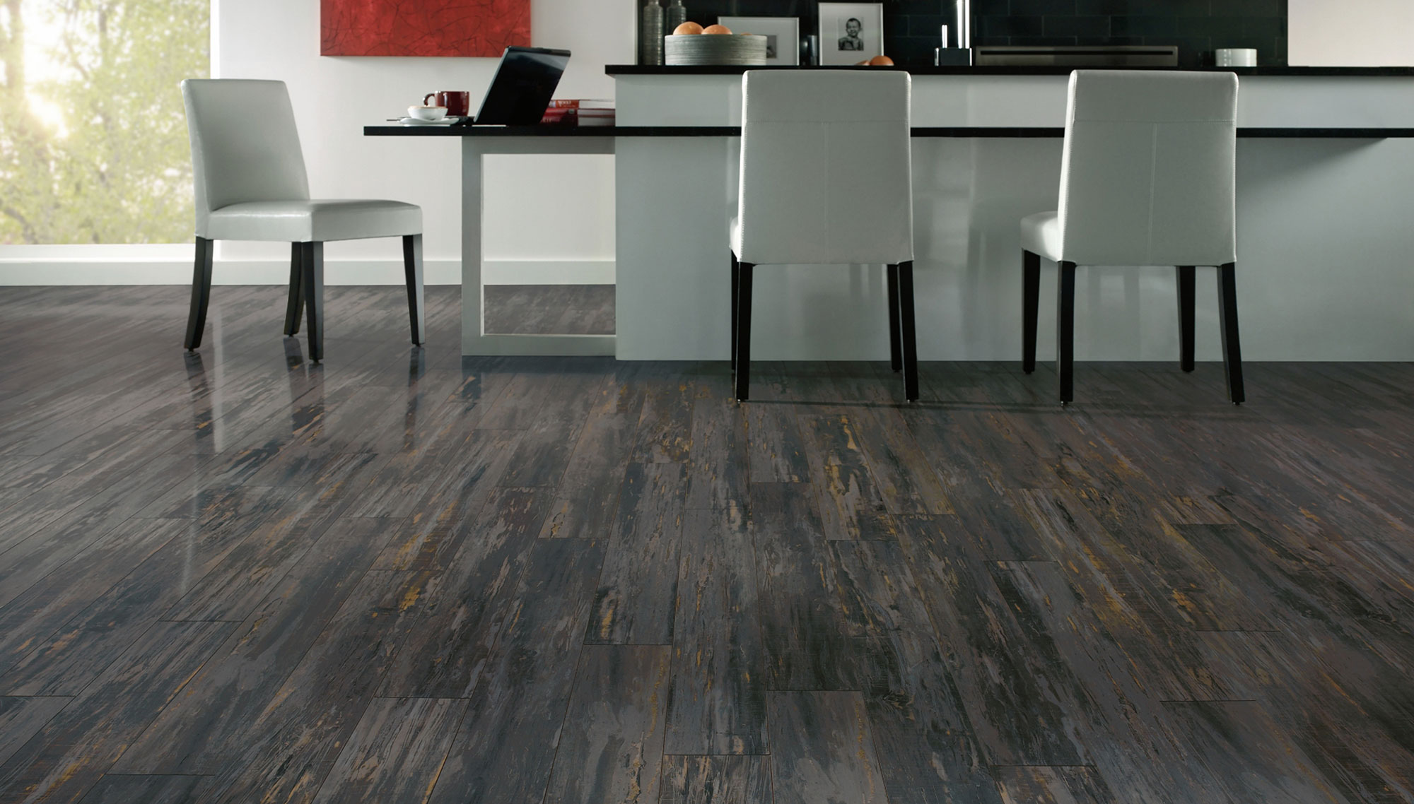 Contemporary floor laminating complete modern kitchen with white chairs and long island near black  backsplash GMVJGWJ