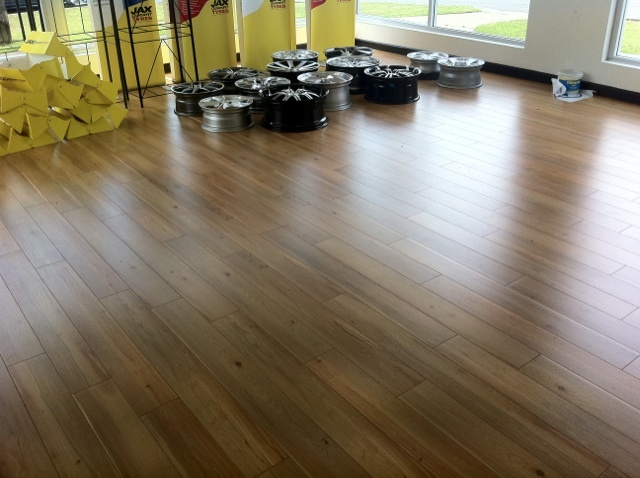Contemporary floor laminating fast lock laminate huon pine laid in a jax tyres store! HBSYVQQ