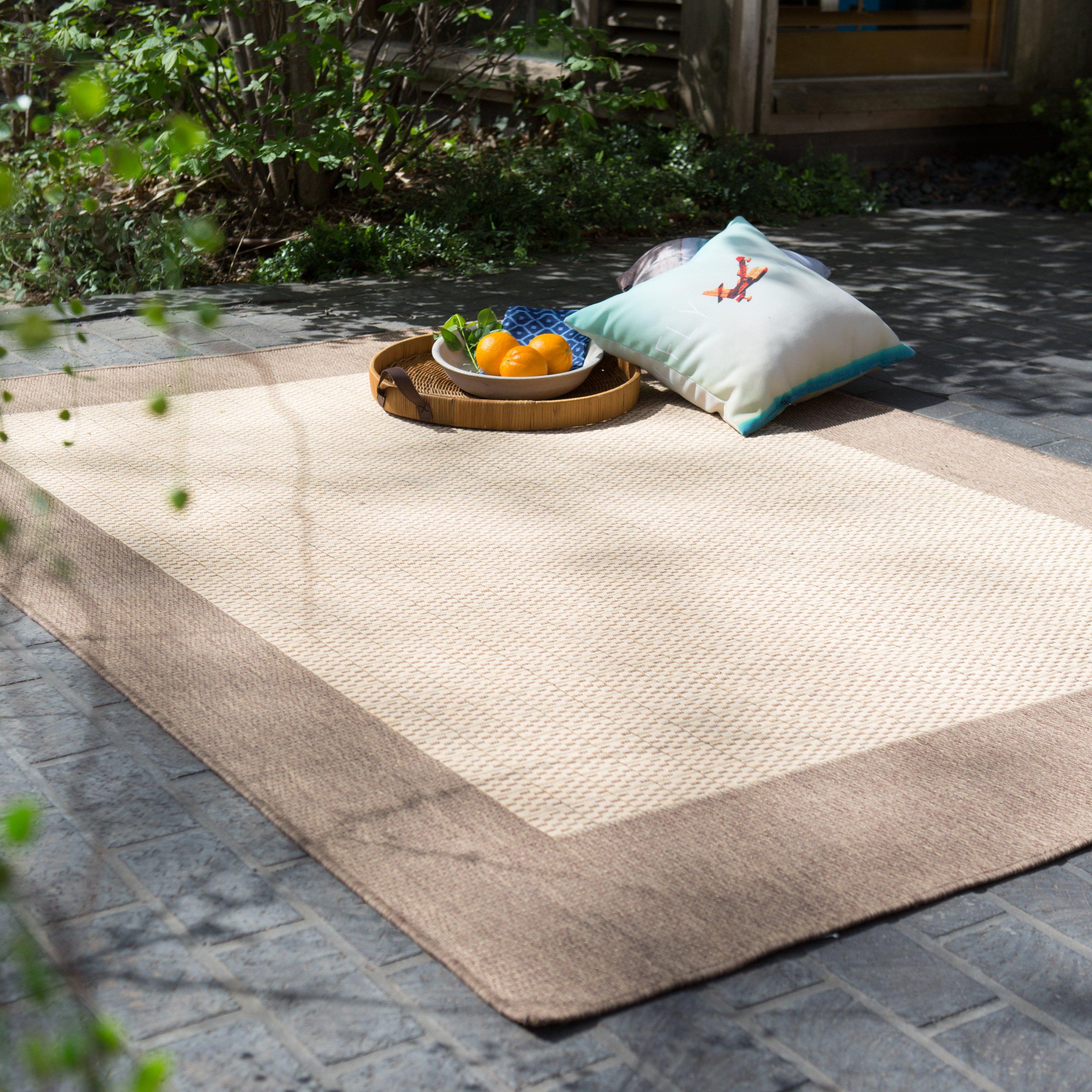 couristan recife checkered field indoor/outdoor area rug - natural/cocoa |  hayneedle KRWPZXO