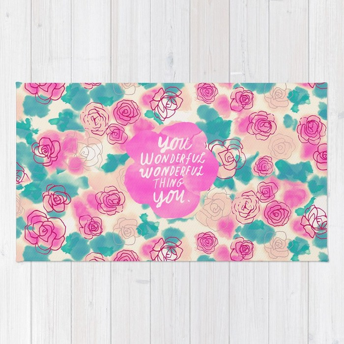 Cute rugs cute pink turquoise floral pattern illustration rug WJQXASA